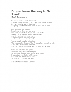 Do you know the way to San Jose. Lyrics